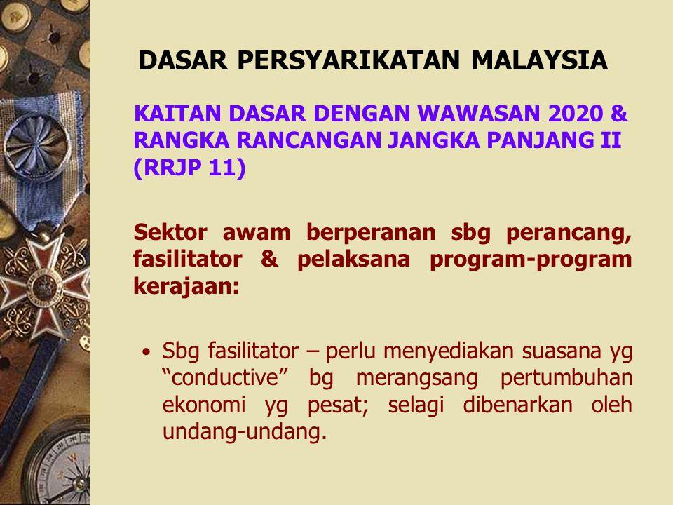 DASAR PERSYARIKATAN MALAYSIA KAITAN DASAR DENGAN WAWASAN 2020 & RANGKA RANCANGAN JANGKA PANJANG II (RRJP 11) Sektor awam berperanan sbg perancang, fas