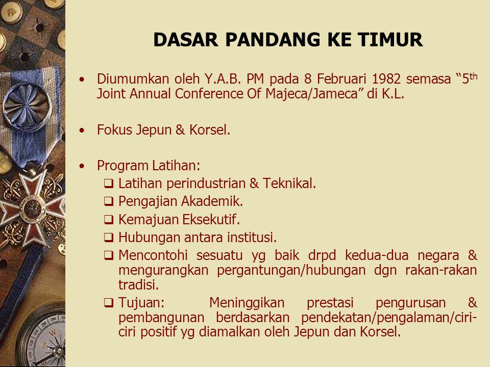 "DASAR PANDANG KE TIMUR Diumumkan oleh Y.A.B. PM pada 8 Februari 1982 semasa ""5 th Joint Annual Conference Of Majeca/Jameca"" di K.L. Fokus Jepun & Kors"