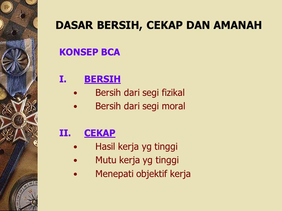 DASAR BERSIH, CEKAP DAN AMANAH KONSEP BCA I.BERSIH Bersih dari segi fizikal Bersih dari segi moral II.CEKAP Hasil kerja yg tinggi Mutu kerja yg tinggi
