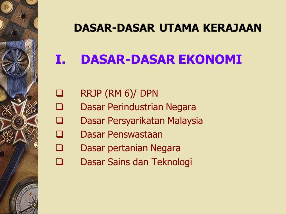 DASAR-DASAR UTAMA KERAJAAN I.DASAR-DASAR EKONOMI  RRJP (RM 6)/ DPN  Dasar Perindustrian Negara  Dasar Persyarikatan Malaysia  Dasar Penswastaan 
