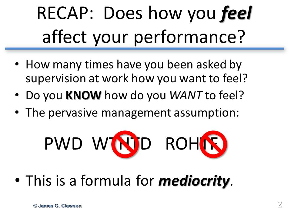 feel RECAP: Does how you feel affect your performance.