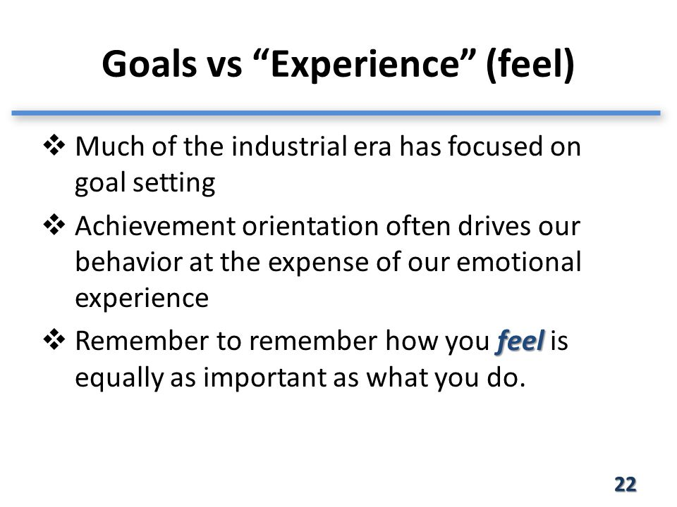 Goals vs Experience (feel) 22  Much of the industrial era has focused on goal setting  Achievement orientation often drives our behavior at the expense of our emotional experience feel  Remember to remember how you feel is equally as important as what you do.