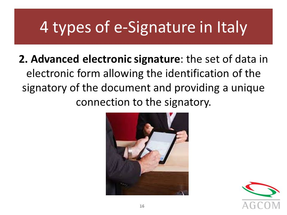 4 types of e-Signature in Italy 2.