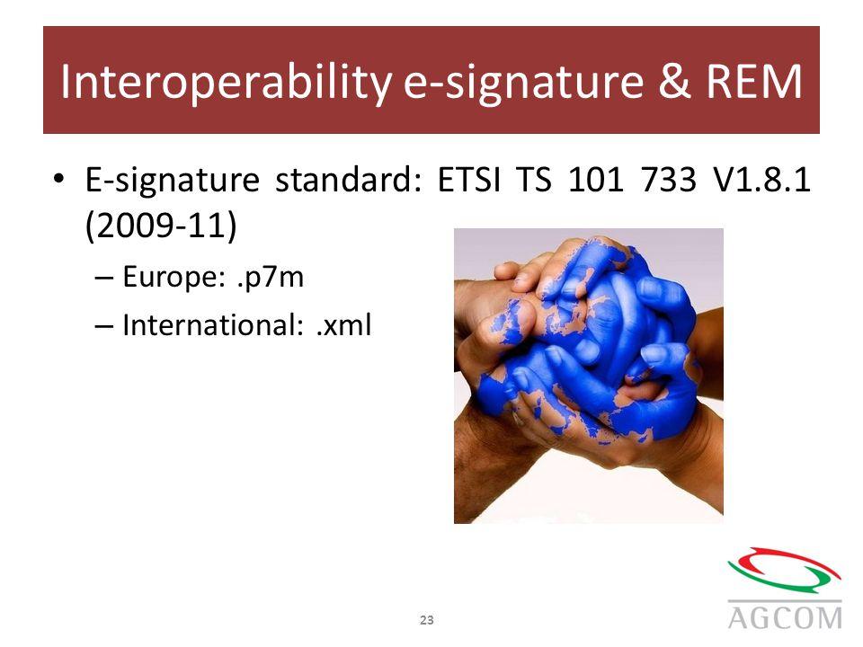 Interoperability e-signature & REM E-signature standard: ETSI TS 101 733 V1.8.1 (2009-11) – Europe:.p7m – International:.xml 23