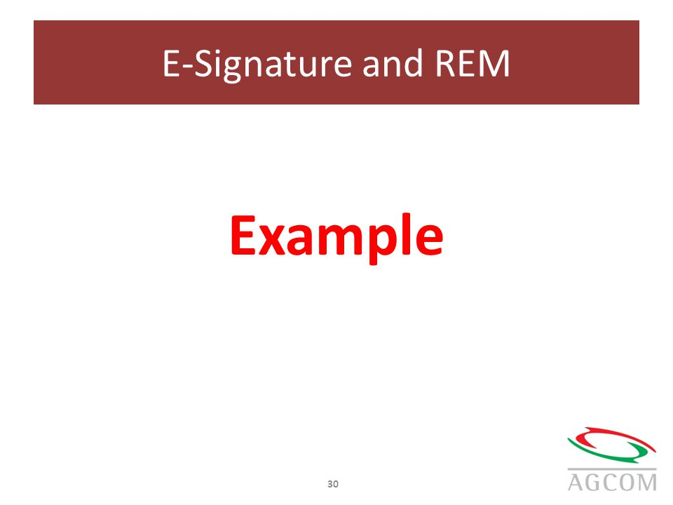 E-Signature and REM Example 30