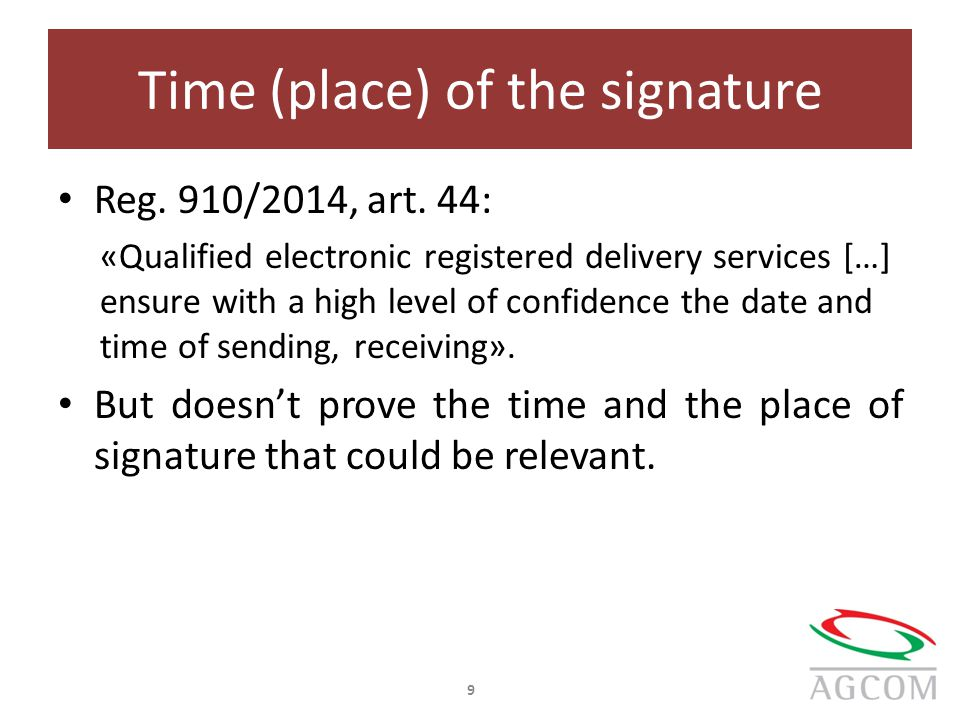 Time (place) of the signature Reg. 910/2014, art.