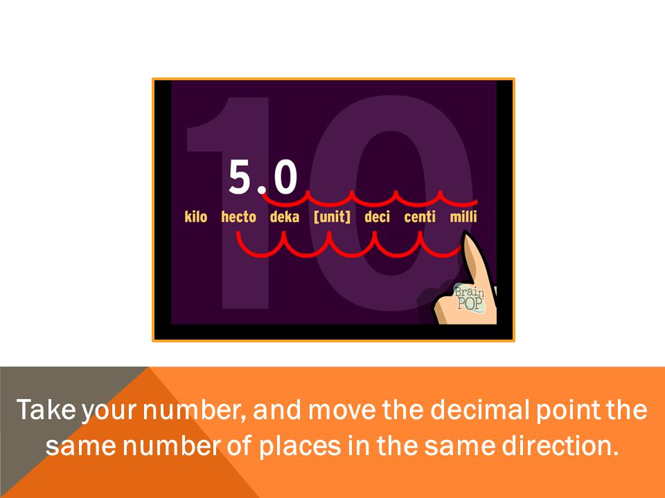 Take your number, and move the decimal point the same number of places in the same direction.