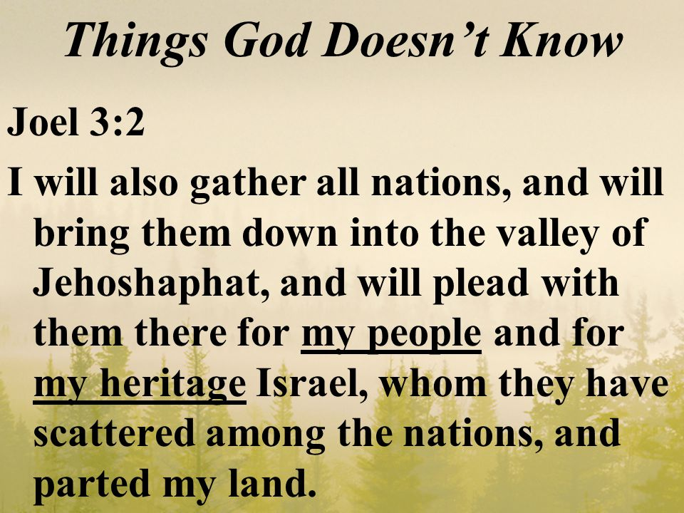 Things God Doesn't Know Joel 3:2 I will also gather all nations, and will bring them down into the valley of Jehoshaphat, and will plead with them there for my people and for my heritage Israel, whom they have scattered among the nations, and parted my land.
