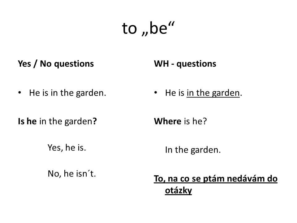 "to ""be Yes / No questions He is in the garden. Is he in the garden."