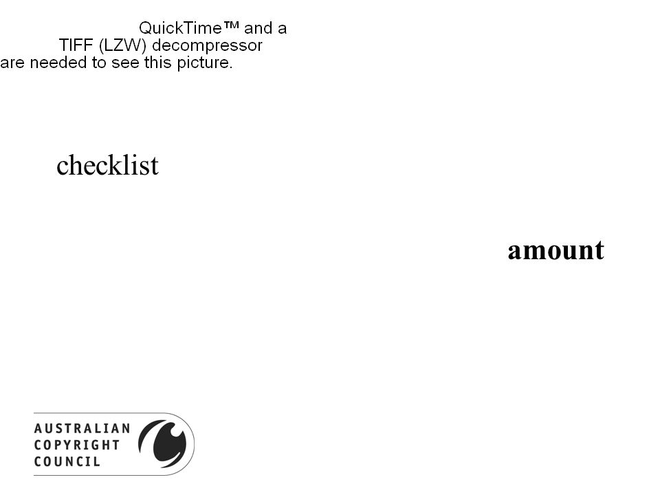 checklist amount