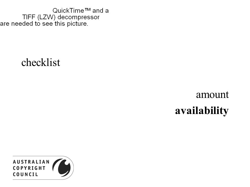 checklist amount availability