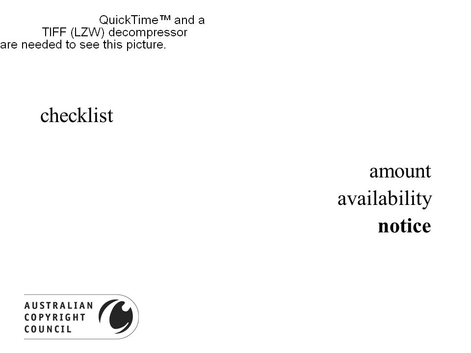 checklist amount availability notice
