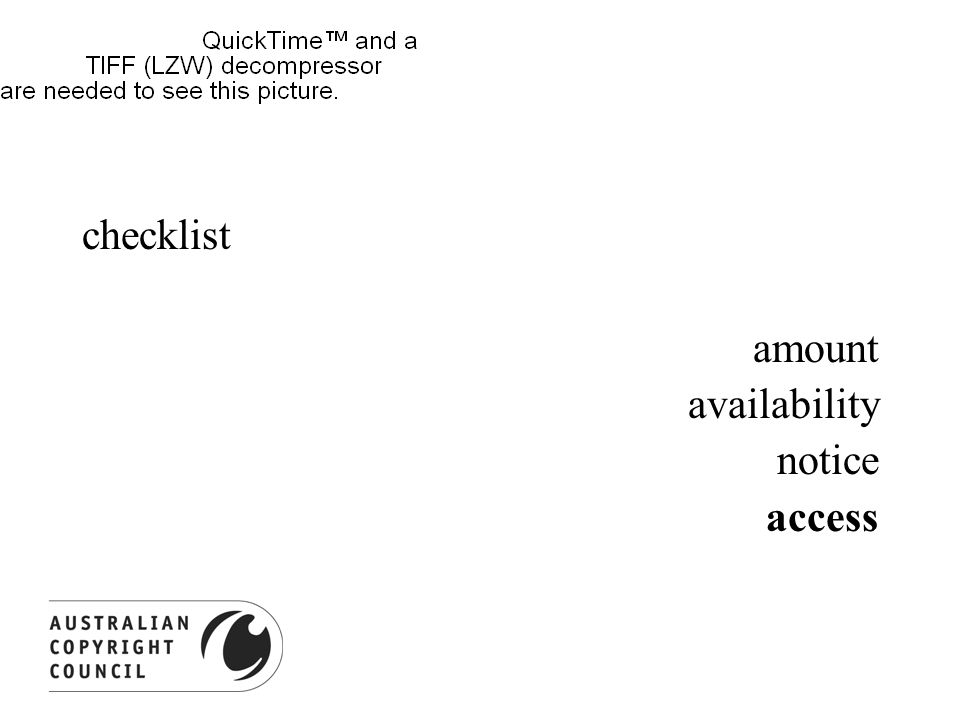 checklist amount availability notice access