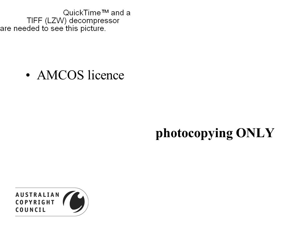 AMCOS licence photocopying ONLY