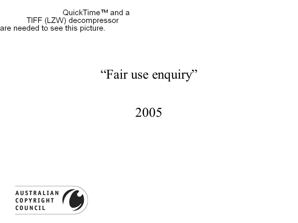 Fair use enquiry 2005