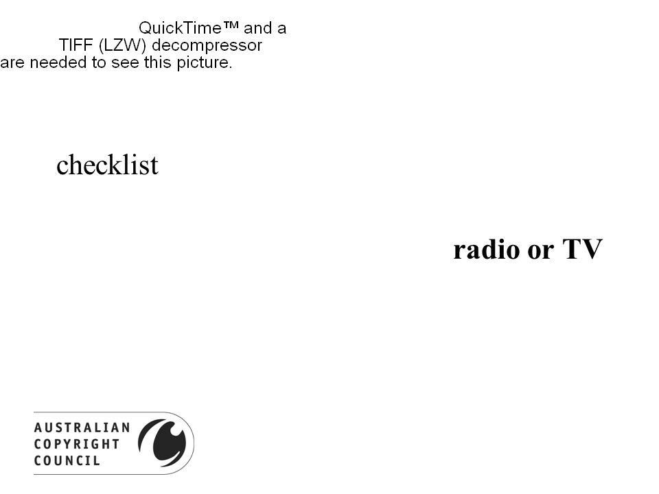 checklist radio or TV mark analogue copies