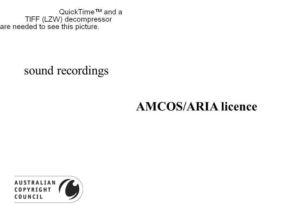 sound recordings AMCOS/ARIA licence