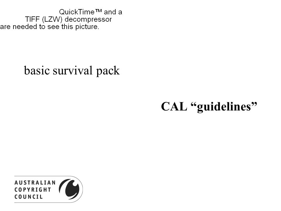 basic survival pack CAL guidelines