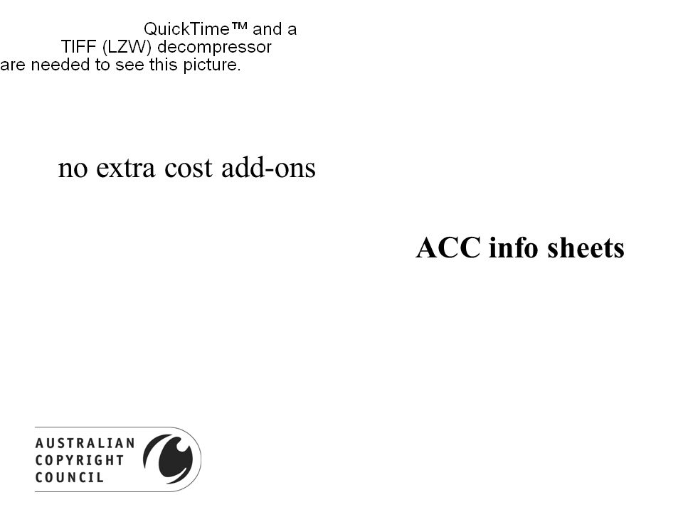 no extra cost add-ons ACC info sheets