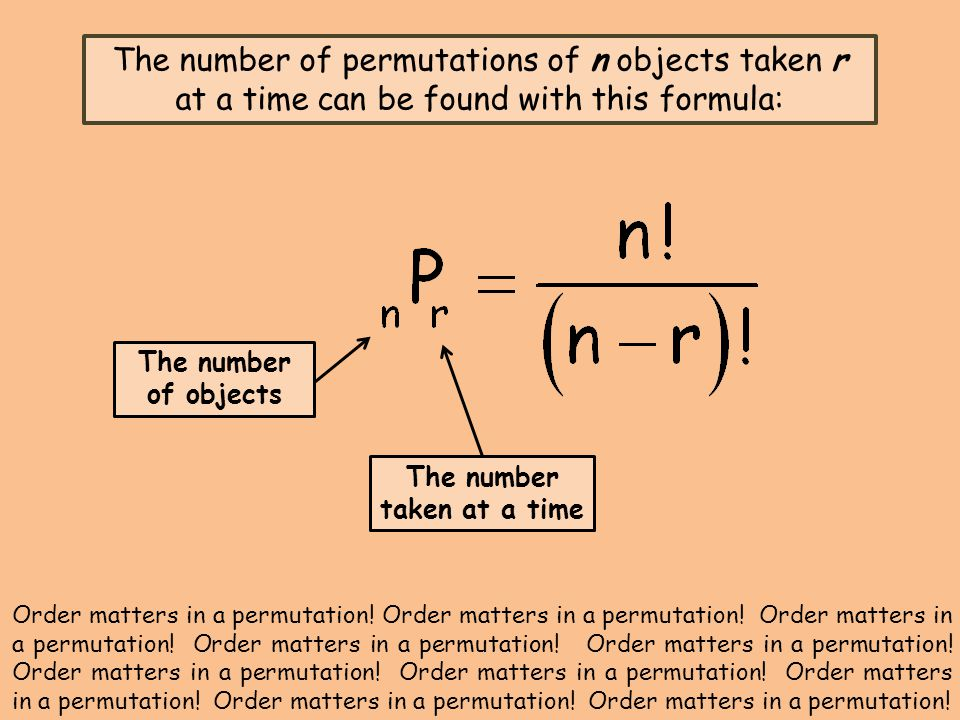 The number of permutations of n objects taken r at a time can be found with this formula: The number of objects The number taken at a time Order matters in a permutation.