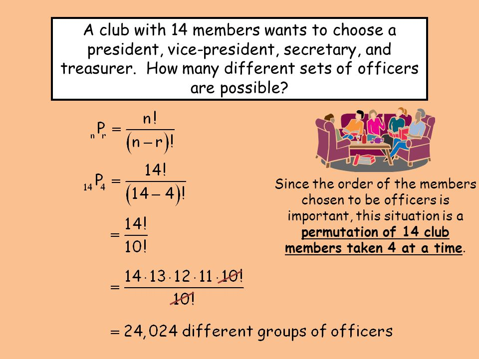 Since the order of the members chosen to be officers is important, this situation is a permutation of 14 club members taken 4 at a time.