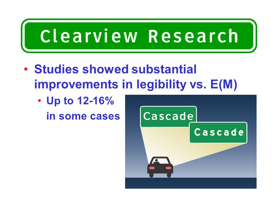 Studies showed substantial improvements in legibility vs. E(M) Up to 12-16% in some cases