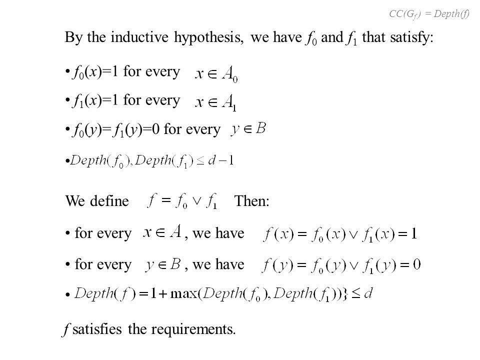By the inductive hypothesis, we have f 0 and f 1 that satisfy: f 0 (x)=1 for every f 1 (x)=1 for every f 0 (y)= f 1 (y)=0 for every We defineThen: f s