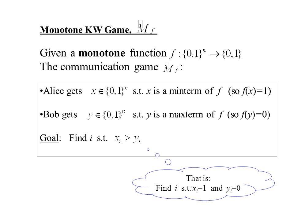 Alice gets s.t. x is a minterm of f (so f(x)=1) Bob gets s.t.