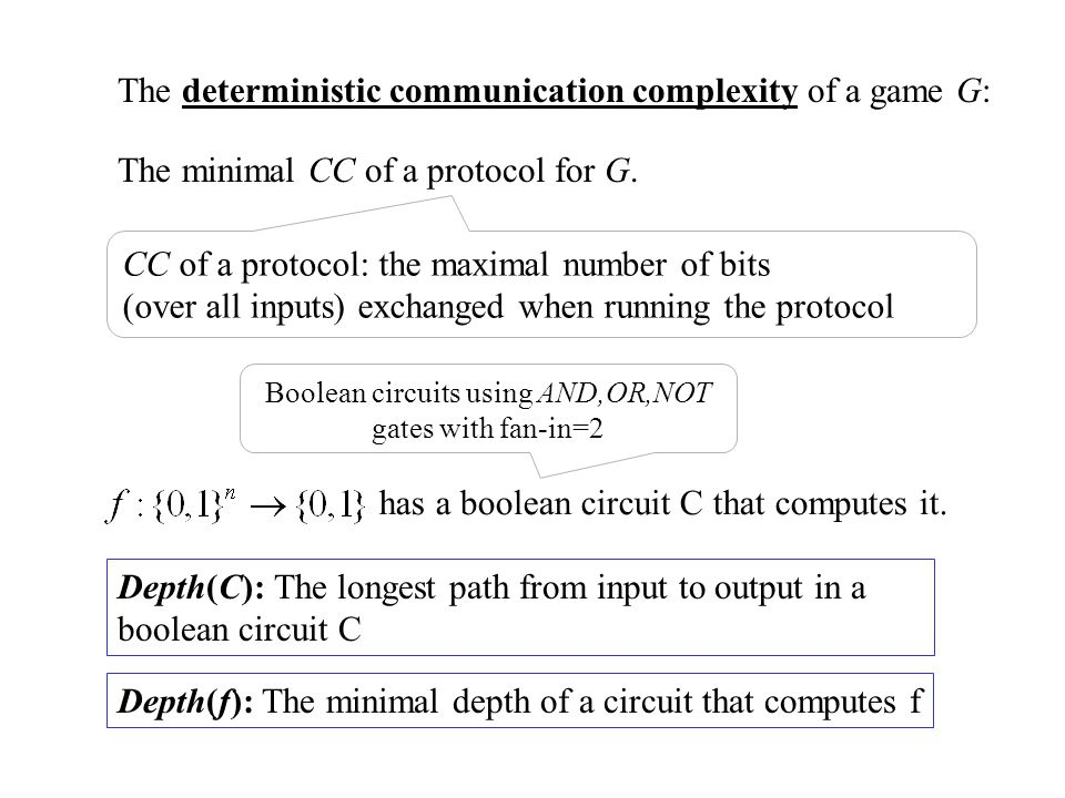 The deterministic communication complexity of a game G: Depth(C): The longest path from input to output in a boolean circuit C Depth(f): The minimal d