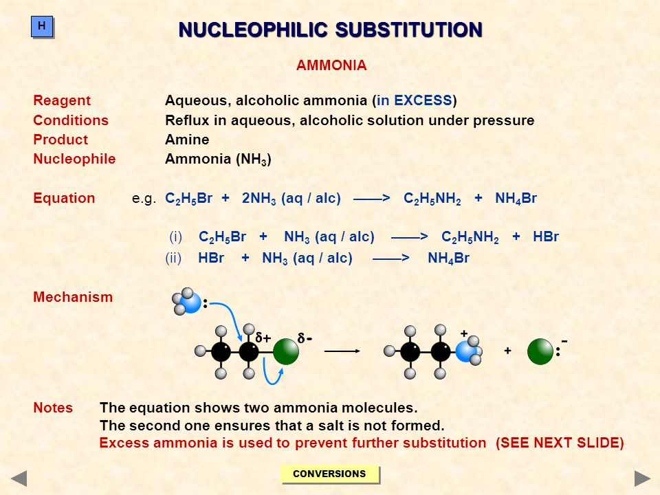 NUCLEOPHILIC SUBSTITUTION AMMONIA ReagentAqueous, alcoholic ammonia (in EXCESS) ConditionsReflux in aqueous, alcoholic solution under pressure Product