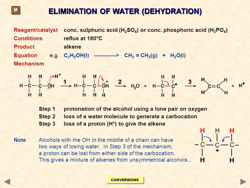 ELIMINATION OF WATER (DEHYDRATION) Reagent/catalystconc. sulphuric acid (H 2 SO 4 ) or conc. phosphoric acid (H 3 PO 4 ) Conditionsreflux at 180°C Pro