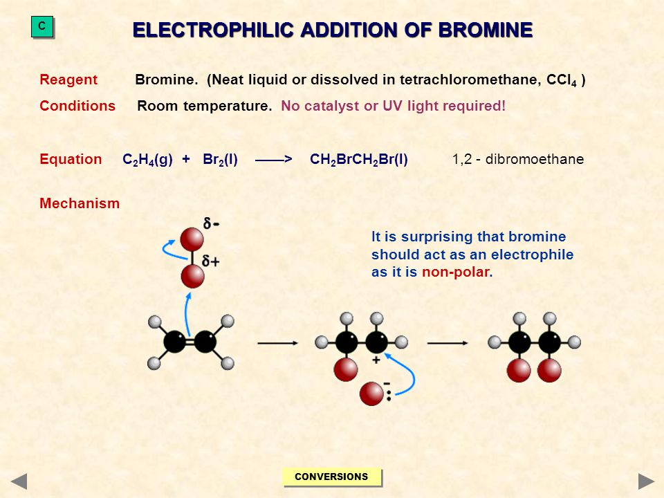 Reagent Bromine. (Neat liquid or dissolved in tetrachloromethane, CCl 4 ) Conditions Room temperature. No catalyst or UV light required! Equation C 2