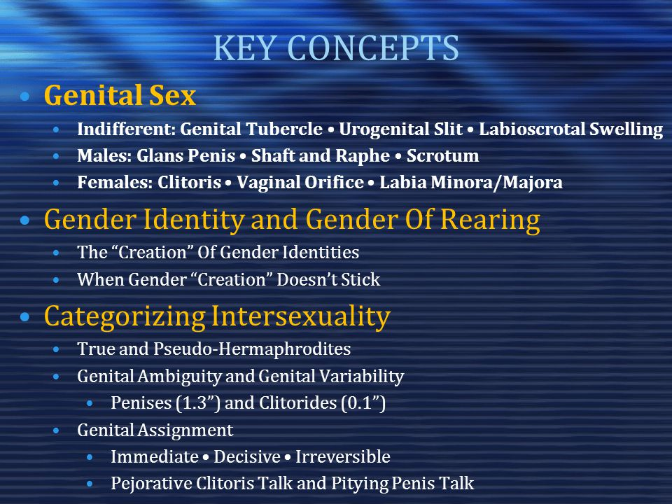 KEY CONCEPTS Genital Sex Indifferent: Genital Tubercle Urogenital Slit Labioscrotal Swelling Males: Glans Penis Shaft and Raphe Scrotum Females: Clitoris Vaginal Orifice Labia Minora/Majora Gender Identity and Gender Of Rearing The Creation Of Gender Identities When Gender Creation Doesn't Stick Categorizing Intersexuality True and Pseudo-Hermaphrodites Genital Ambiguity and Genital Variability Penises (1.3 ) and Clitorides (0.1 ) Genital Assignment Immediate Decisive Irreversible Pejorative Clitoris Talk and Pitying Penis Talk