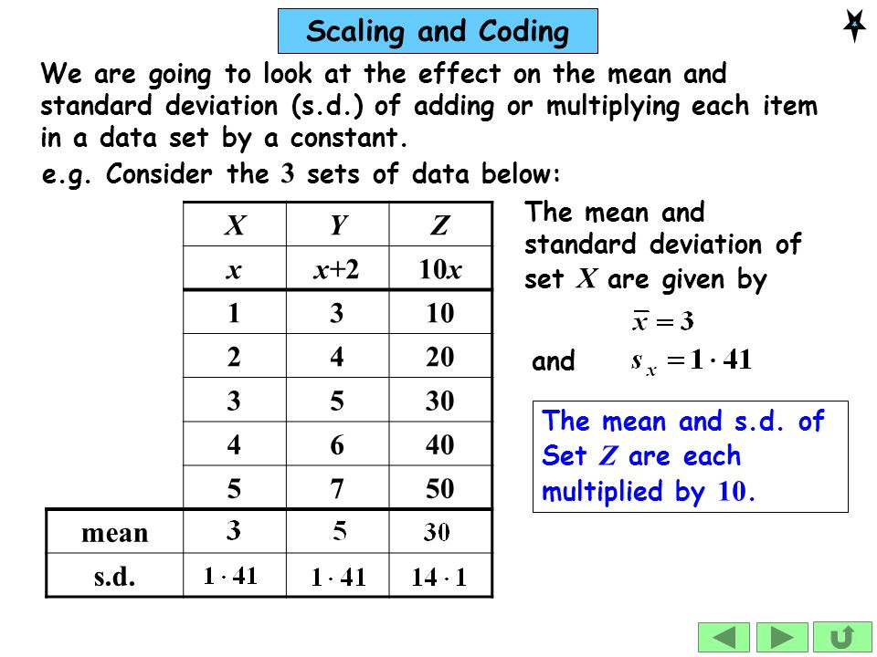 Scaling and Coding So, adding 2 to each data item adds 2 to the mean but doesn't change the s.d.