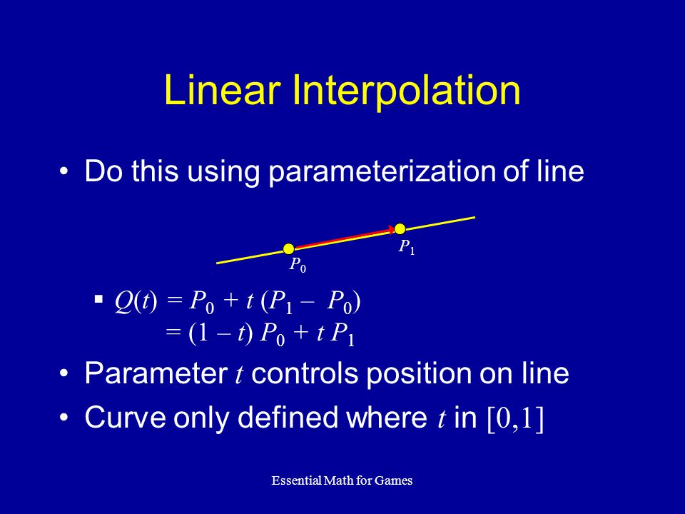 Essential Math for Games Do this using parameterization of line  Q(t) = P 0 + t (P 1 – P 0 ) = (1 – t) P 0 + t P 1 Parameter t controls position on line Curve only defined where t in [0,1] Linear Interpolation P0P0 P1P1