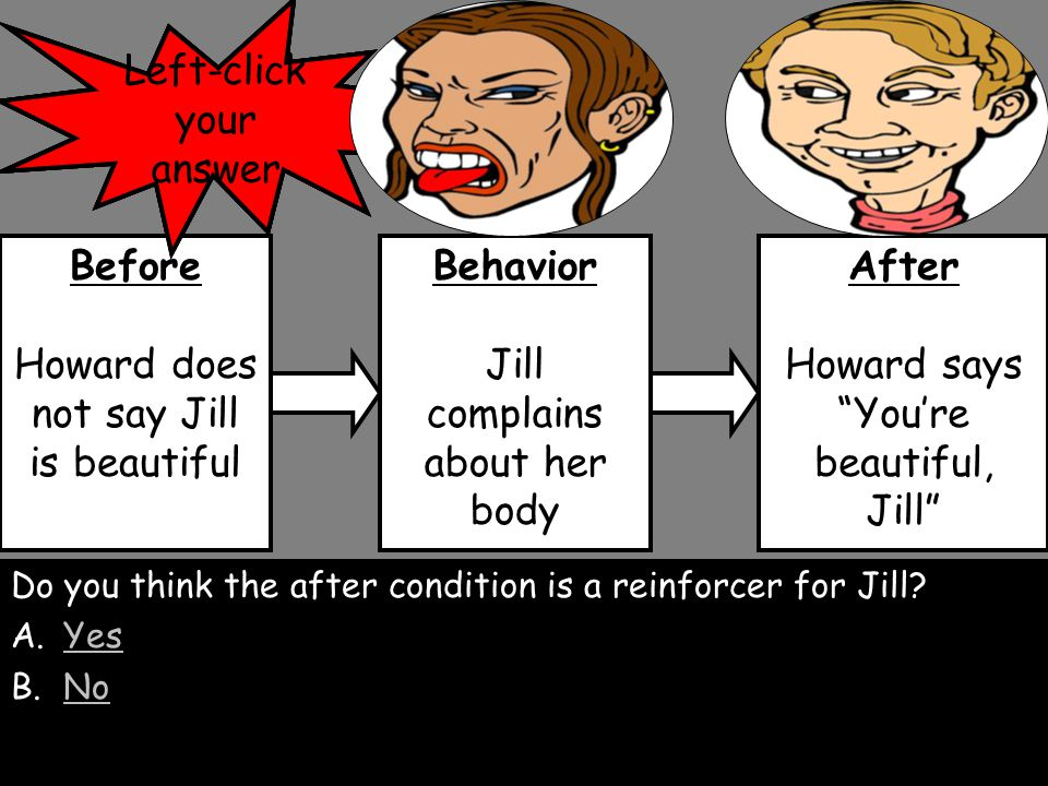 Howard does not say Jill is beautiful Jill complains about her body Howard says You're beautiful, Jill Jill does not complain about her body Defined:  Often, aversive behavior occurs  because such behavior is reinforced  by the attention, approval, or compliance of another person.