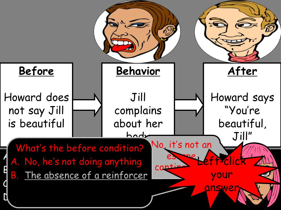 A.Escape contingency B.Punishment contingencyPunishment contingency C.Reinforcement contingencyReinforcement contingency D.None of the aboveNone of the above Left-click your answer Before Howard does not say Jill is beautiful Behavior Jill complains about her body After Howard says You're beautiful, Jill No, it's not an escape contingency.