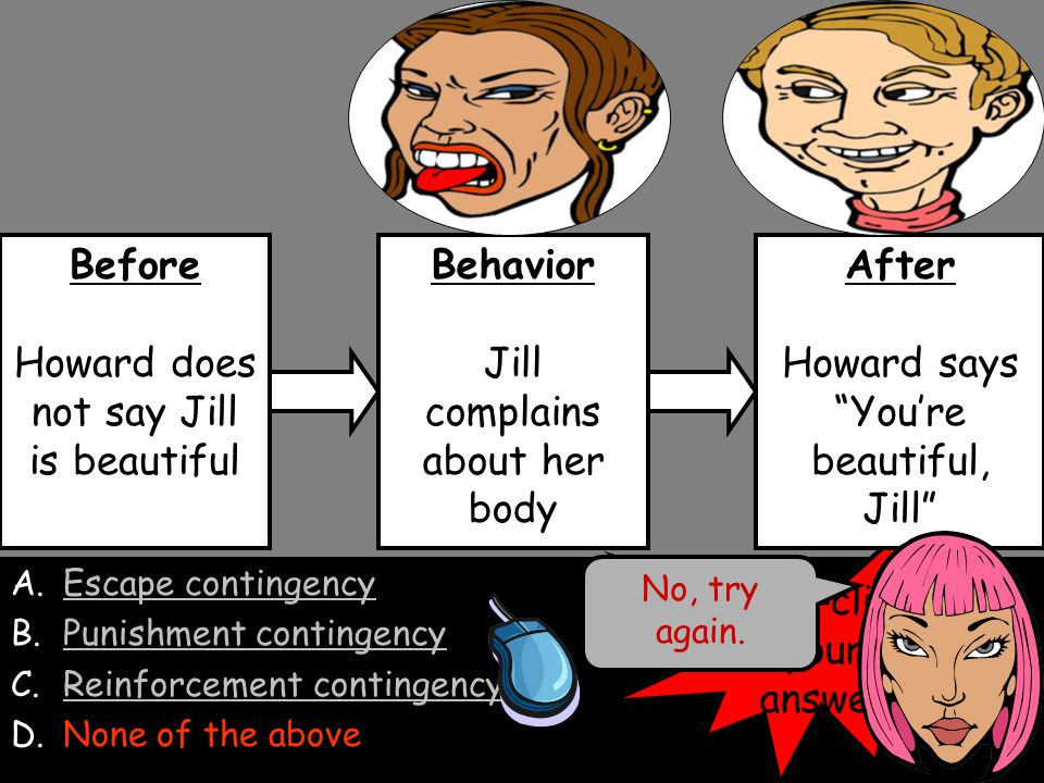 A.Escape contingencyEscape contingency B.Punishment contingency C.Reinforcement contingencyReinforcement contingency D.None of the aboveNone of the above Before Howard does not say Jill is beautiful Behavior Jill complains about her body After Howard says You're beautiful, Jill No, the after condition is not an aversive condition.