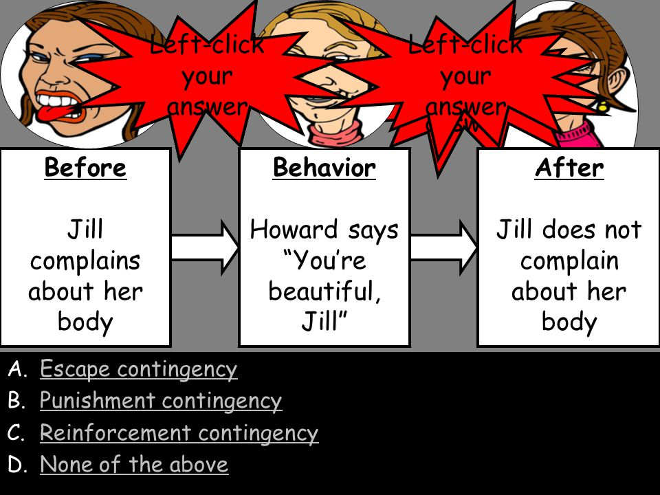 A.Escape contingencyEscape contingency B.Punishment contingencyPunishment contingency C.Reinforcement contingency D.None of the aboveNone of the above Before Howard does not say Jill is beautiful Behavior Jill complains about her body After Howard says You're beautiful, Jill Yes, Jill's complaining is maintained by her husband's attention.