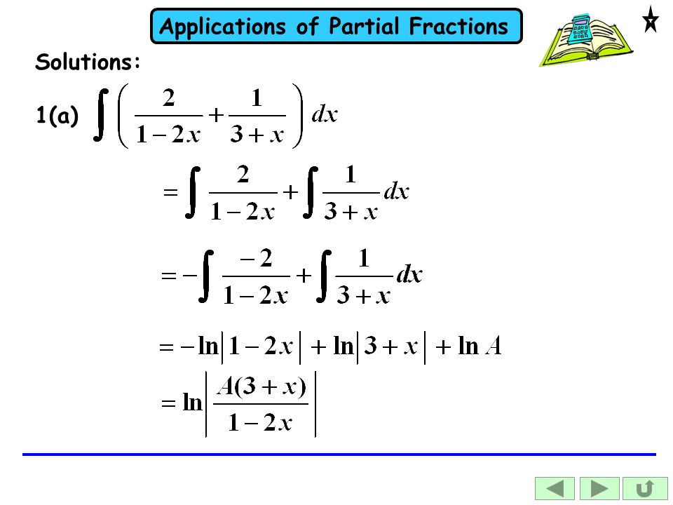 Applications of Partial Fractions 1(a) Solutions: