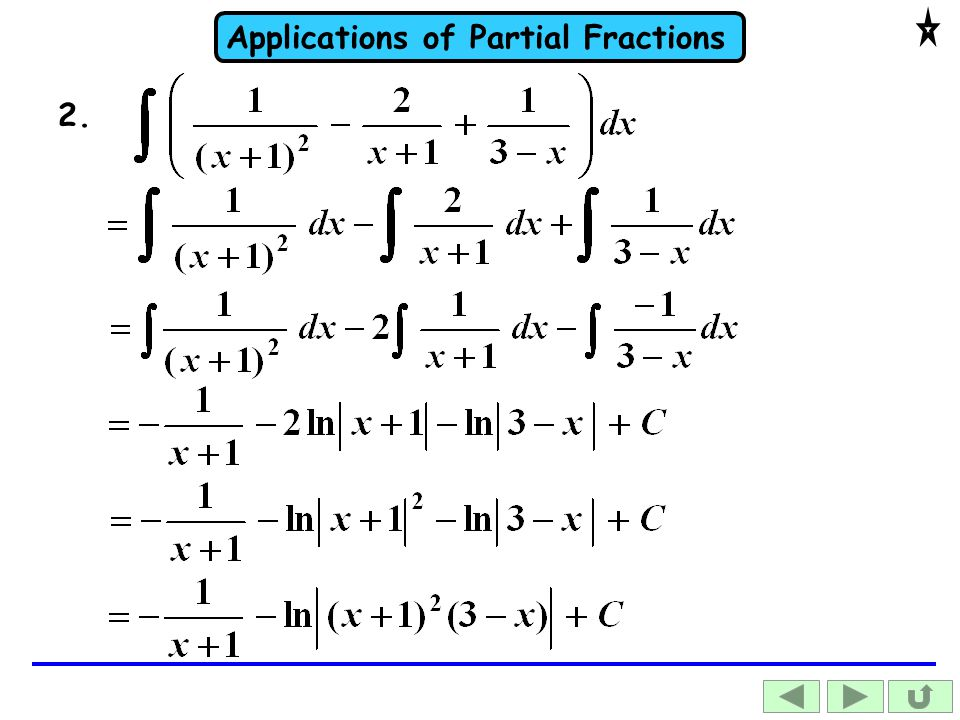 Applications of Partial Fractions 2.