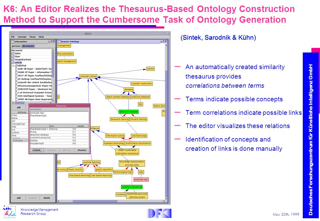 Deutsches Forschungszentrum für Künstliche Intelligenz GmbH Nov 30th, 1999 Knowledge Management Research Group K6: An Editor Realizes the Thesaurus-Based Ontology Construction Method to Support the Cumbersome Task of Ontology Generation – An automatically created similarity thesaurus provides correlations between terms – Terms indicate possible concepts – Term correlations indicate possible links – The editor visualizes these relations – Identification of concepts and creation of links is done manually (Sintek, Sarodnik & Kühn)