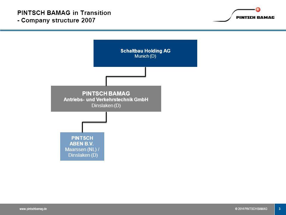 3 www.pintschbamag.de© 2014 PINTSCH BAMAG PINTSCH BAMAG in Transition - Company structure 2007 PINTSCH ABEN B.V. Maarssen (NL) / Dinslaken (D) Schaltb
