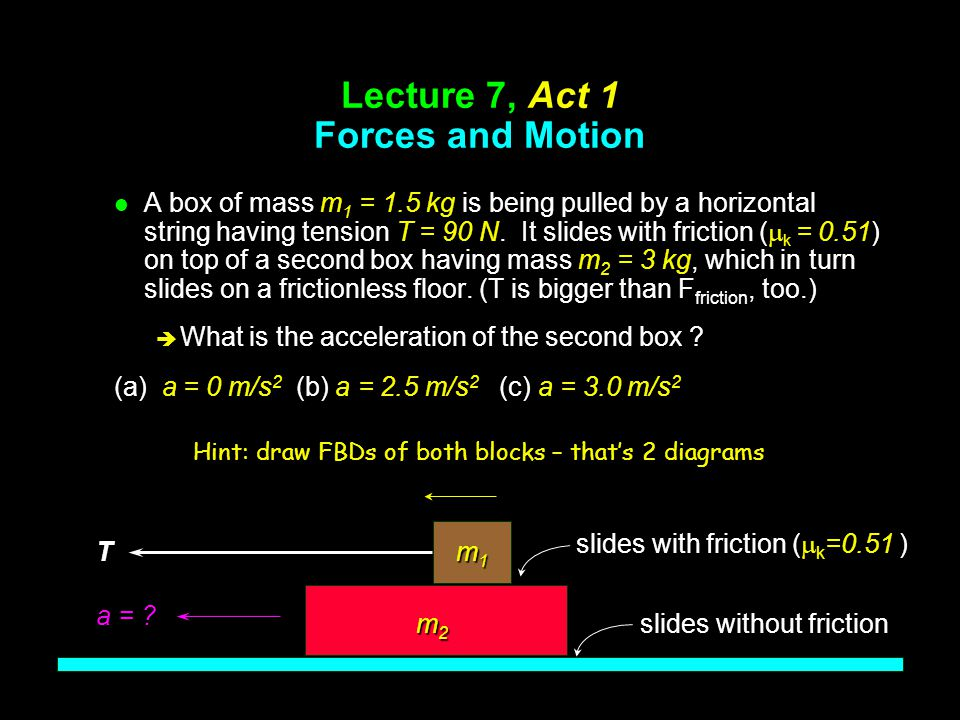 Problem: Box on Truck l Draw Free Body Diagram for box: è Consider case where f F is max...