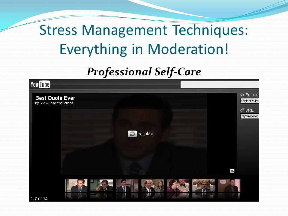 Stress Management Techniques: Everything in Moderation! Professional Self-Care