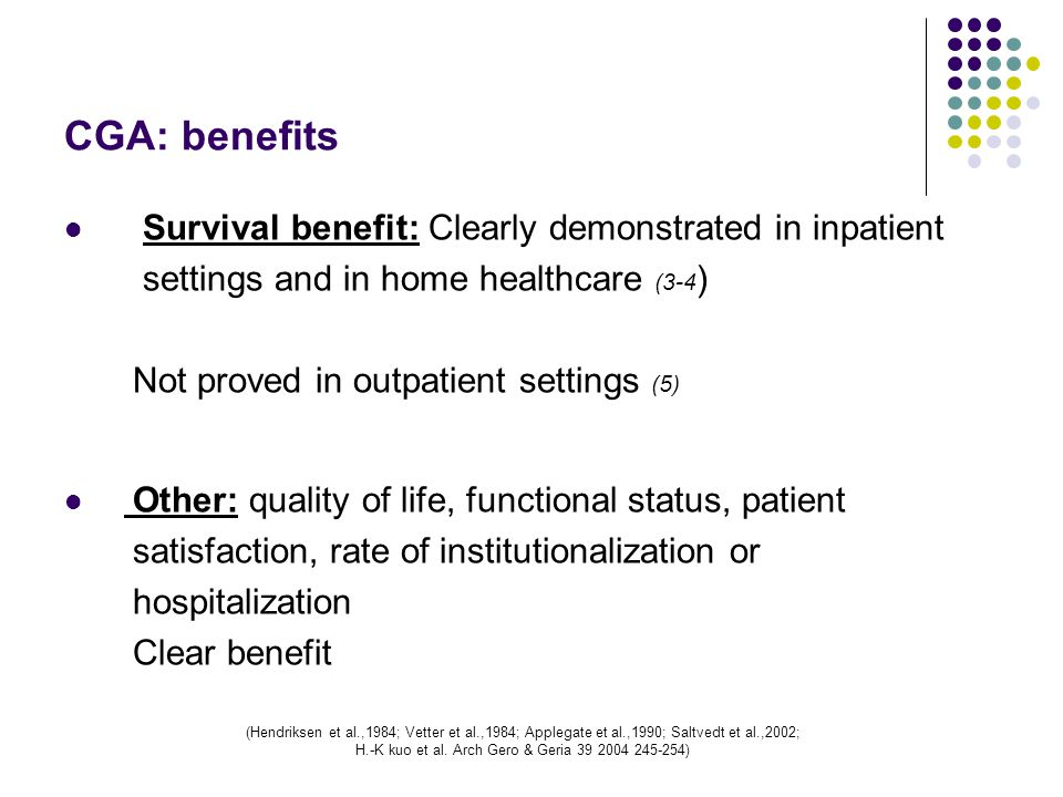 When do we do dementia evaluation? 3-Domains evaluated by CGA? Cognitive / Mental health
