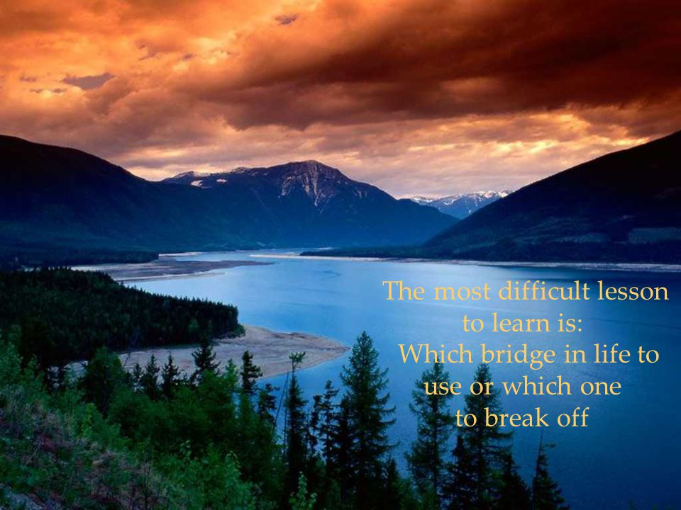 The most difficult lesson to learn is: Which bridge in life to use or which one to break off