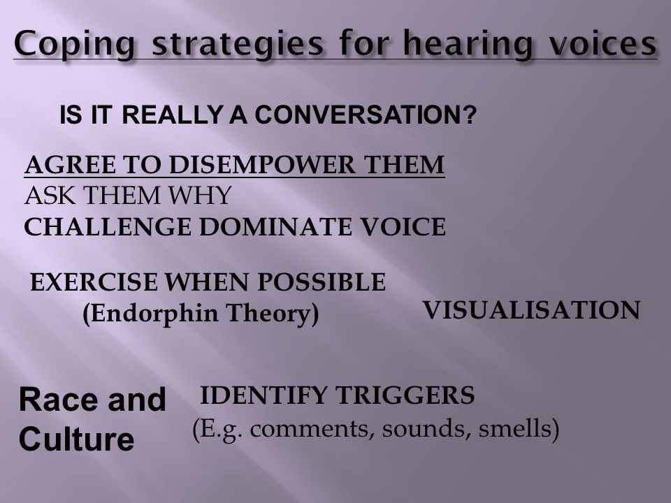 LEARN TO RECOGNISE BEHAVIOUR THAT ISN'T PART OF THE VOICE VOICE HEARING EXPERIENCE CHECK CONTENT OF VOICES ARE THEY TELLING YOU IT'S TIME TO MOVE ON?