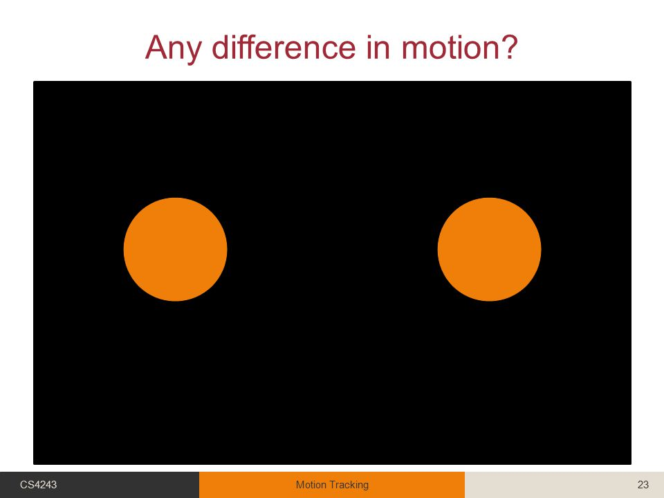 Any difference in motion? CS4243Motion Tracking23