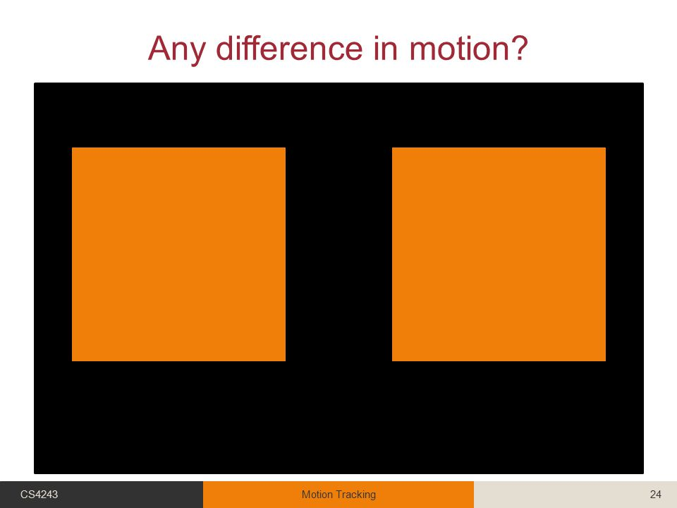 Any difference in motion? CS4243Motion Tracking24